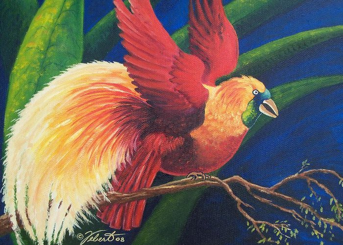 Bird Greeting Card featuring the painting Firebird by Dennis Vebert
