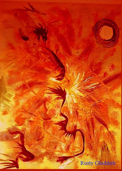 Abstract Greeting Card featuring the painting Firebrand by Rusty Woodward Gladdish
