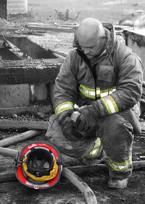 Firefighter Greeting Card featuring the photograph Firefighter by Dana Blalock