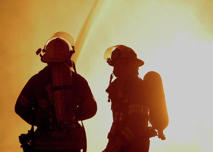 Blaze Greeting Card featuring the photograph Firefighters In Silhouette by Jack Dagley