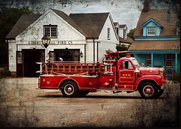 Hdr Greeting Card featuring the photograph Fireman - Newark Fire Company by Mike Savad