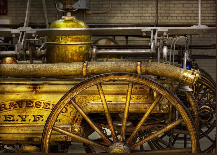 Hdr Greeting Card featuring the photograph Fireman - Piano Engine - 1855 by Mike Savad