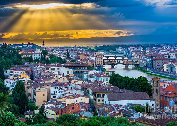 Arno Greeting Card featuring the photograph Firenze Sunset by Inge Johnsson