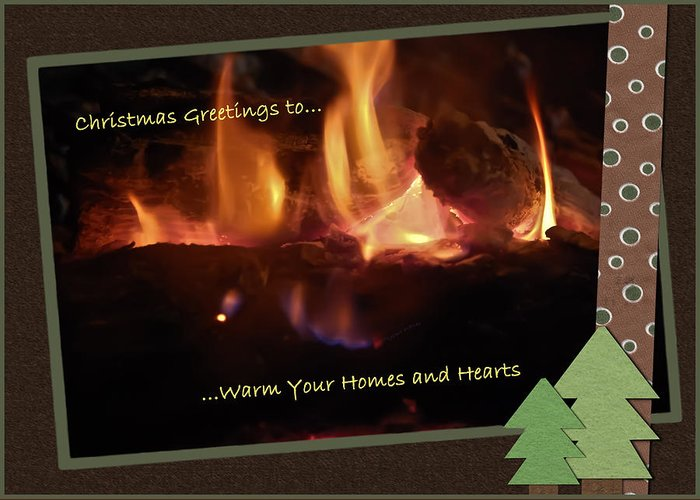 Christmas Greeting Card featuring the photograph Fireside Christmas Greeting by DigiArt Diaries by Vicky B Fuller