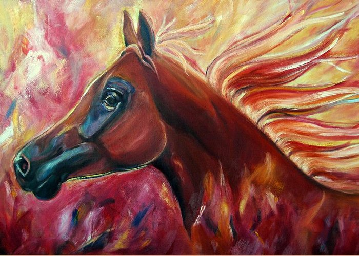 Horse Greeting Card featuring the painting Firestalker by Stephanie Allison