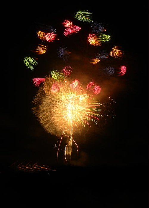 Fireworks Greeting Card featuring the photograph Fireworks-2 by Janet Dickinson