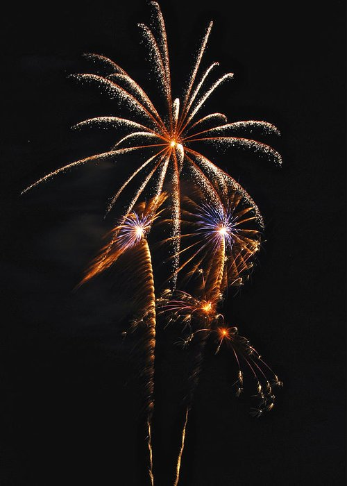 Fireworks Greeting Card featuring the photograph Fireworks 5 by Michael Peychich