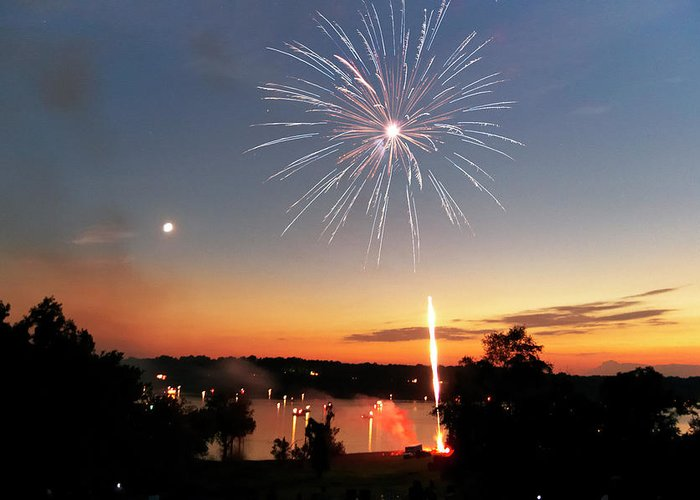 Fireworks Greeting Card featuring the photograph Fireworks And Sunset by Amber Flowers