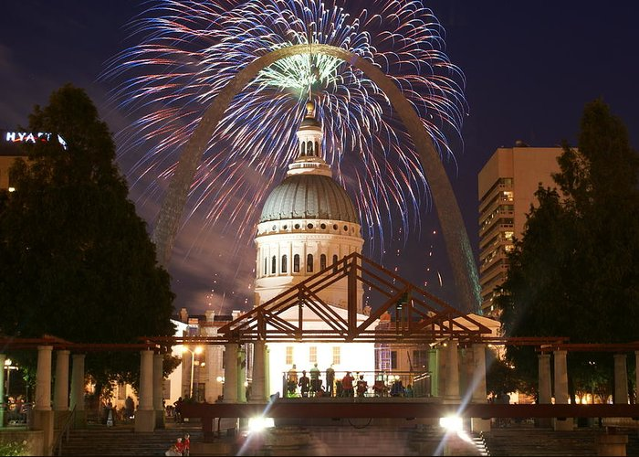 Saint Louis Greeting Card featuring the glass art Fireworks At The Arch 1 by Marty Koch