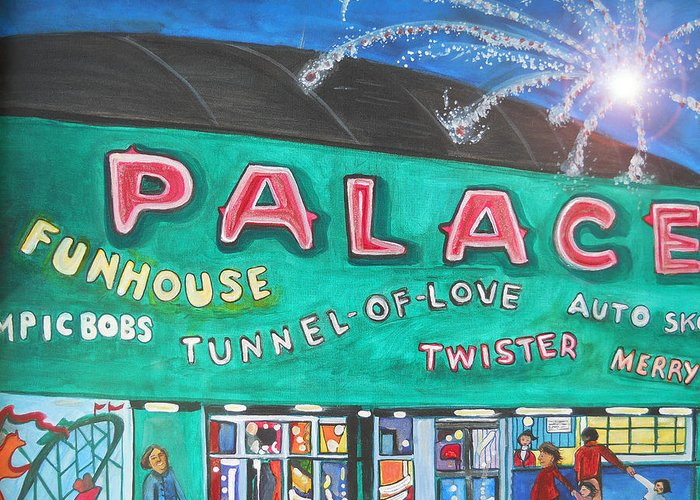 Asbury Park Art Greeting Card featuring the painting Fireworks At The Palace by Patricia Arroyo