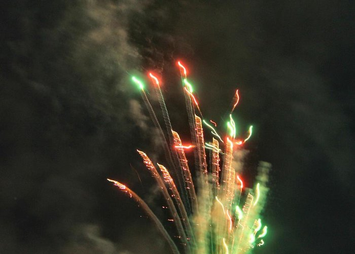 Fireworks Greeting Card featuring the photograph Fireworks by Debbie Levene