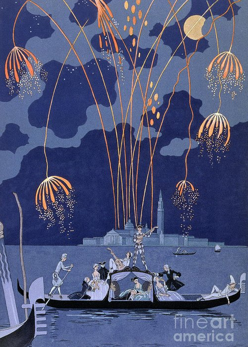 Art Deco; Stencil; Night; Grand Canal; Campanile; Gondola; Boat; Minstrels; Lovers; Couples; Musicians; 18th Century Costume; Poem; Romantic Greeting Card featuring the painting Fireworks In Venice by Georges Barbier