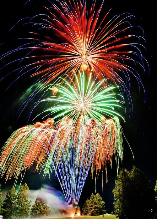 Fireworks Greeting Card featuring the photograph Fireworks No.1 by Niels Nielsen