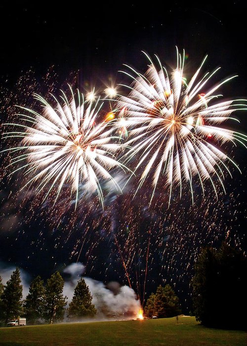 Fireworks Greeting Card featuring the photograph Fireworks No.5 by Niels Nielsen