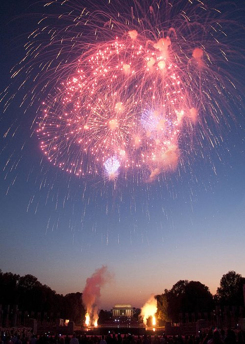 Fireworks Greeting Card featuring the photograph Fireworks Over Lincoln by Colleen Joy