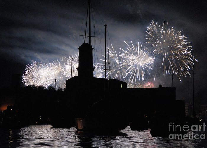 Horizontal Greeting Card featuring the photograph Fireworks Over Marseille's Vieux-port On July 14th Bastille Day by Sami Sarkis