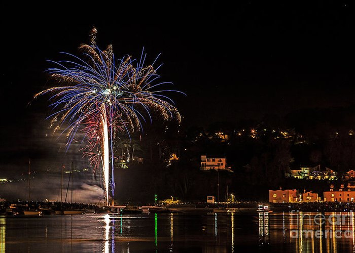 Fire Greeting Card featuring the photograph Fireworks Shaldon 2015 by Sebastien Coell