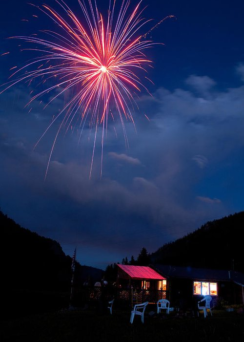 Fireworks Greeting Card featuring the photograph Fireworks Show In The Mountains by James BO Insogna