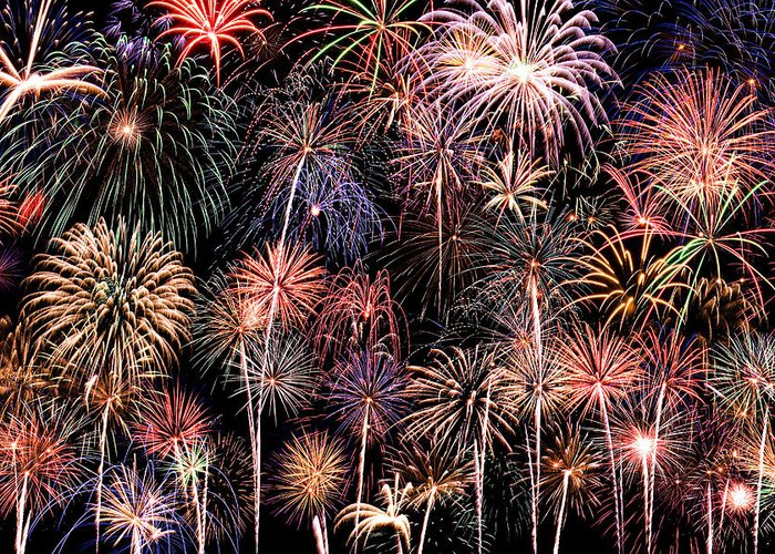 4th Greeting Card featuring the photograph Fireworks Spectacular II by Ricky Barnard