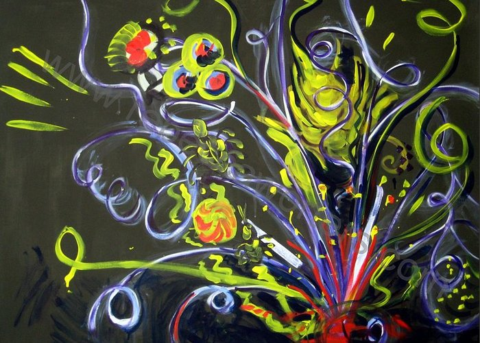 Vines Greeting Card featuring the painting Fireworks Two by Rebecca Merola