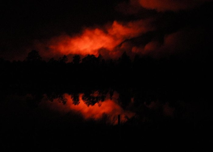 Fire Greeting Card featuring the photograph Firey Night by Gregory Letts