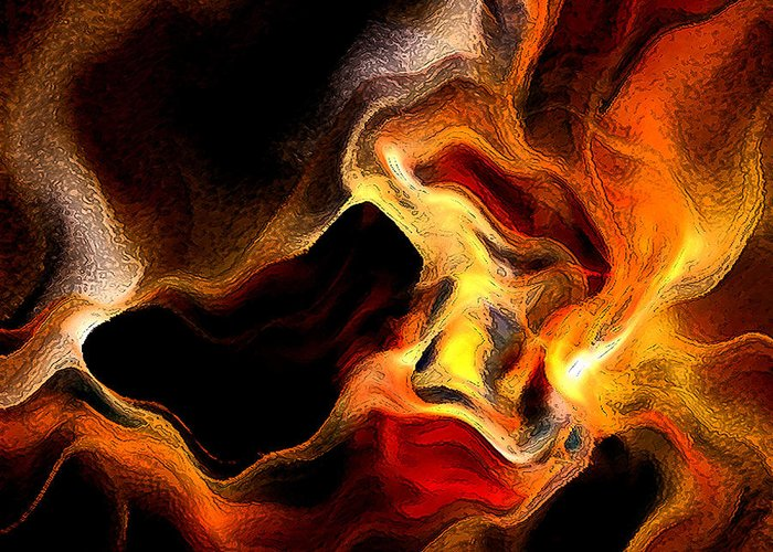 Abstract Greeting Card featuring the digital art Firey by Ruth Palmer