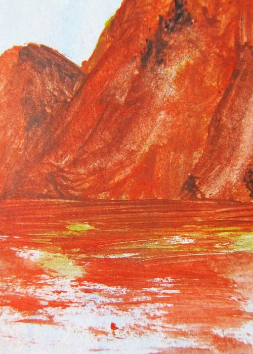 Rocks Greeting Card featuring the painting Firm Foundation by Trilby Cole