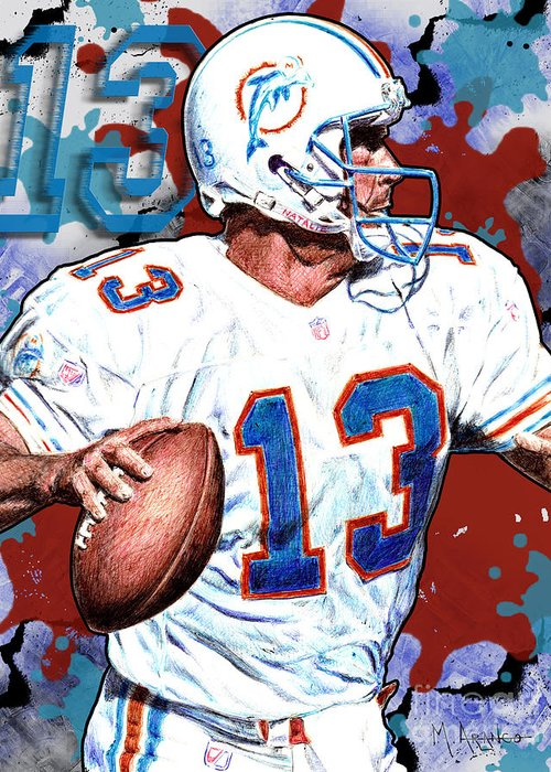 Dan Marino Drawings Greeting Cards