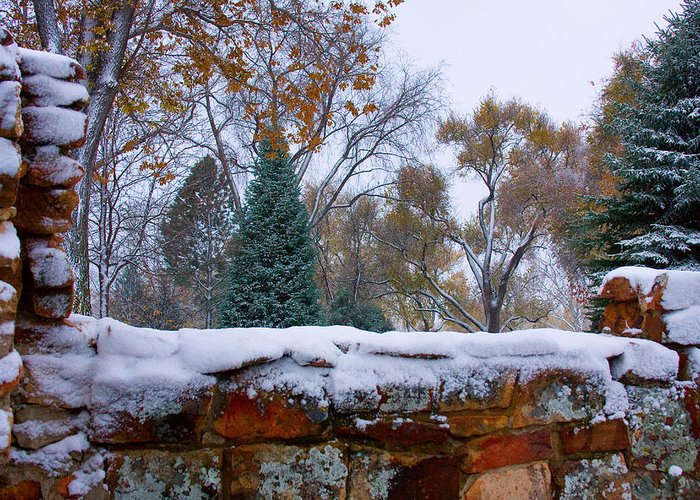 Country Greeting Card featuring the photograph First Colorful Autumn Snow by James BO Insogna