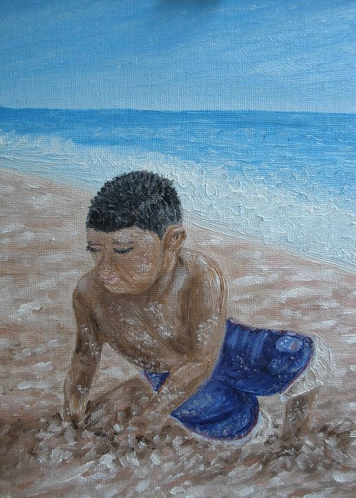 Beach Greeting Card featuring the painting First Day At The Beach by Carrie Mayotte
