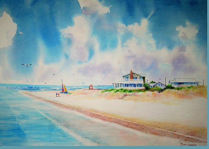 Beach Greeting Card featuring the painting First Day Of Vacation Is Pricless by Tom Harris