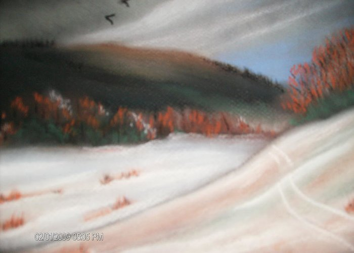 Pastel Greeting Card featuring the painting First Dusting Of Snow by Terry Lash