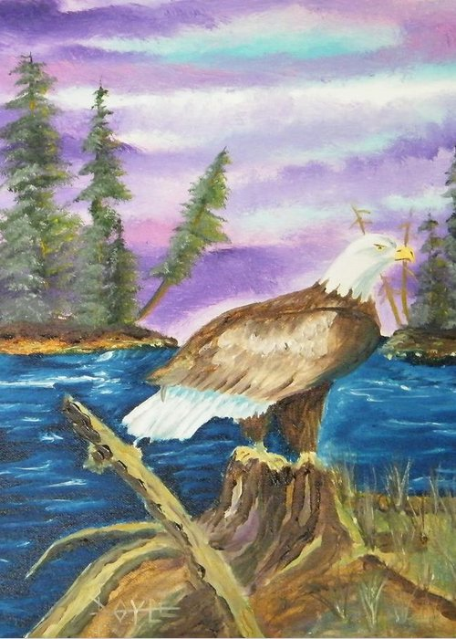 Greeting Card featuring the painting First Eagle Delight by Larry Doyle
