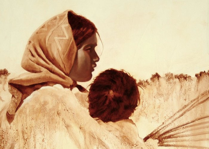 Tarahumara Greeting Card featuring the painting First Easter by Robert Bissett