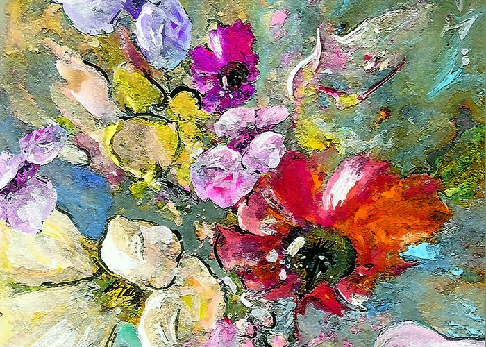 Nature Painting Greeting Card featuring the painting First Flowers by Miki De Goodaboom