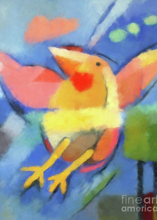 Bird Greeting Card featuring the painting First Fly Digital by Lutz Baar