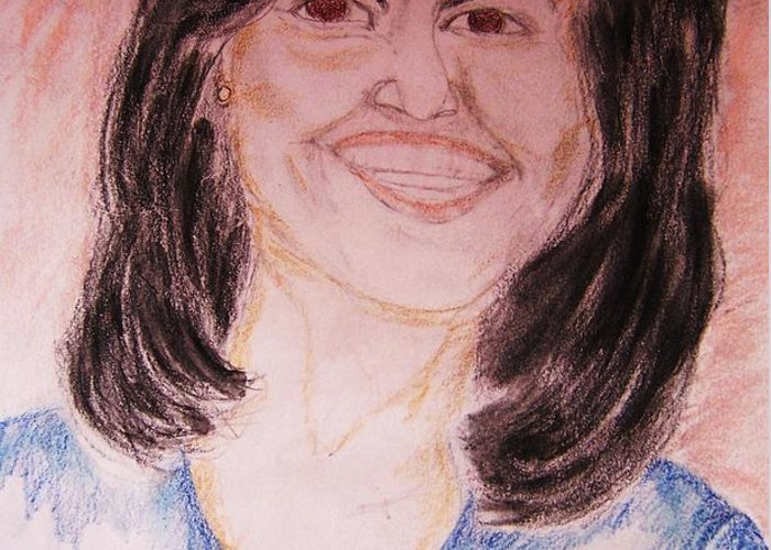 Michelle Obama Greeting Card featuring the greeting card First Lady by Beverly Howell