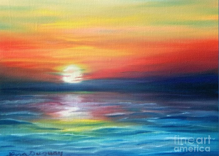 Sunrise Greeting Card featuring the painting First Light by Lora Duguay