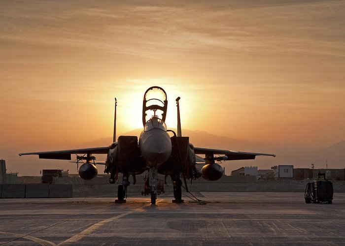 F-15 Greeting Card featuring the photograph First Light On A Fighter by Tim Grams