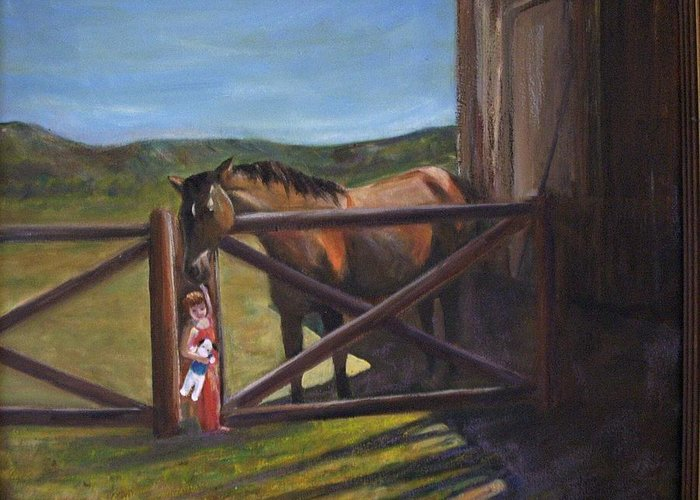 Horse Greeting Card featuring the painting First Love by Darla Joy Johnson