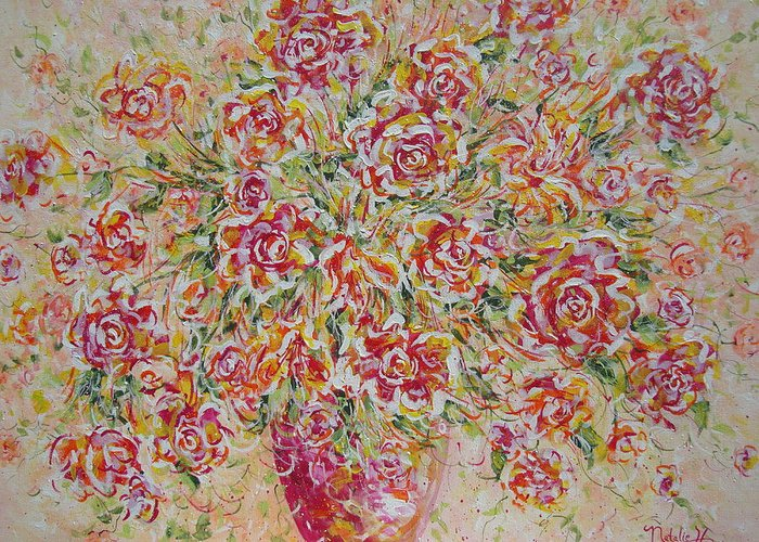 Flowers. Floral Greeting Card featuring the painting First Love Flowers by Natalie Holland