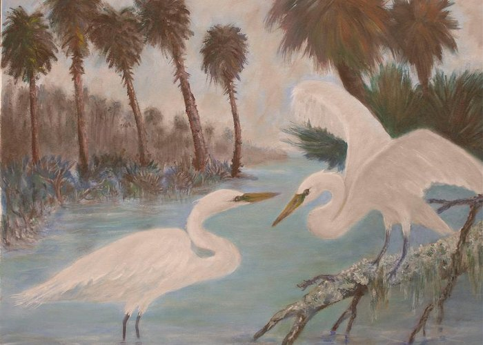 Egret Greeting Card featuring the painting First Meeting by Ben Kiger