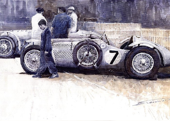Auto Greeting Card featuring the painting First Met Up Talbot Lago Le Mans 1950 by Yuriy Shevchuk