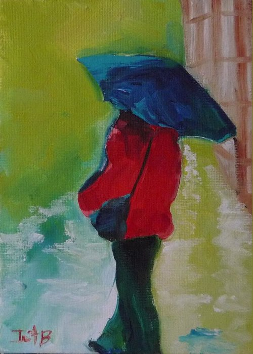 Figurative Greeting Card featuring the painting First Rain by Irit Bourla
