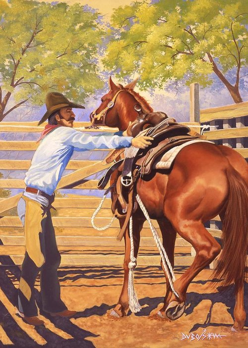 Cowboy Greeting Card featuring the painting First Saddling by Howard Dubois