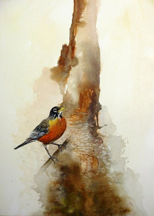 Robin Greeting Card featuring the painting First Sign Of Spring by Lynne Parker