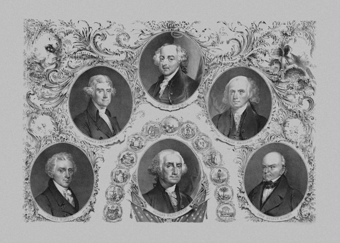 Us Presidents Greeting Card featuring the drawing First Six U.s. Presidents by War Is Hell Store