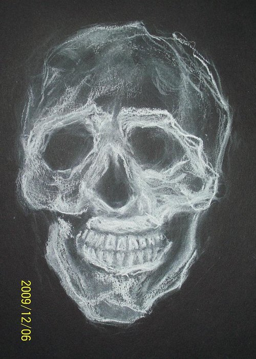 Skulls Greeting Card featuring the drawing First Skull Work by Nancy Caccioppo