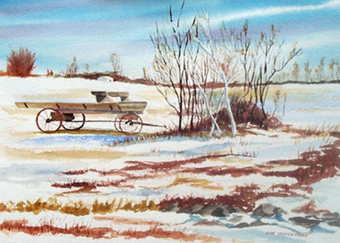 Landscape Greeting Card featuring the painting First Snow by Anne Trotter Hodge
