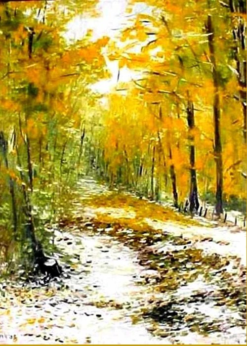 Landscape Greeting Card featuring the painting First Snow by Boris Garibyan